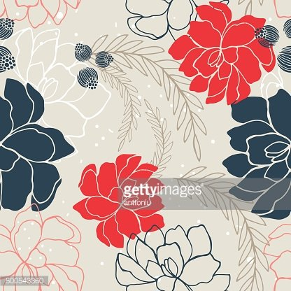 Hand drawn floral seamless background pattern Romantic flowers