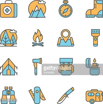 Line flat icons of camping equipment, hiking
