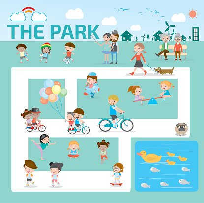 people in the park infographic elements flat design illustration vector