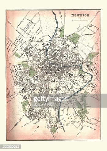 Antique Map of Norwich, England, 1880