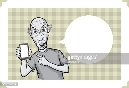 Greeting card with bald man pointing at smartphone