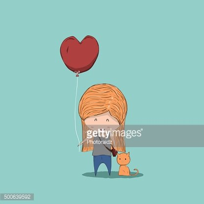 Cute cartoon girl holding heart-shaped balloons and cat