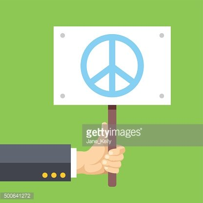 Hands holds sign with Peace sign. Peace, pacifism, no war
