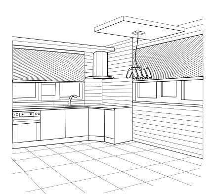 Sketch Of A Kitchen Interior Premium Clipart Clipartlogo Com