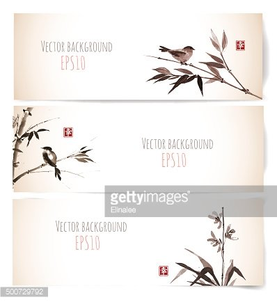 Banners with bamboo, orchid and bird