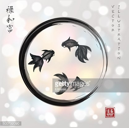 Three little goldfishes in black circle