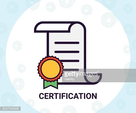 Certificate and contract stamp icon