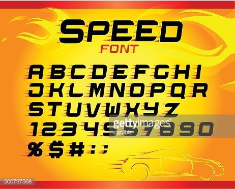 Fast speed english alphabet letters, numbers, symbols for your design.