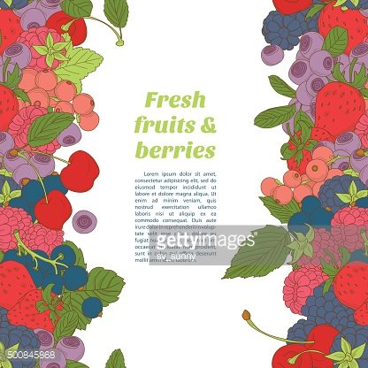 Berries mix seamless border frame of cherry, currant, blueberry,
