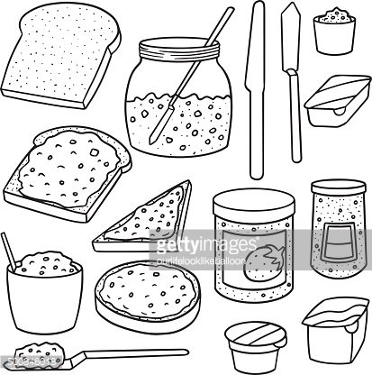 vector set of jam and toast
