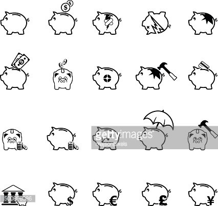 Collection of piggy bank icons