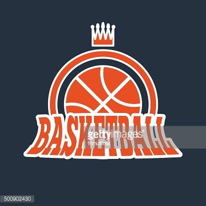 Basketball Badge with Stars and Crown