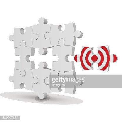 Business concept. target puzzle on a white background