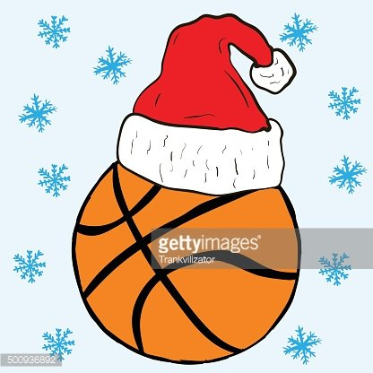 Christmas basketball in a cap