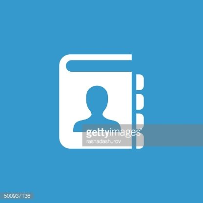 contact book icon, isolated, white on the blue background