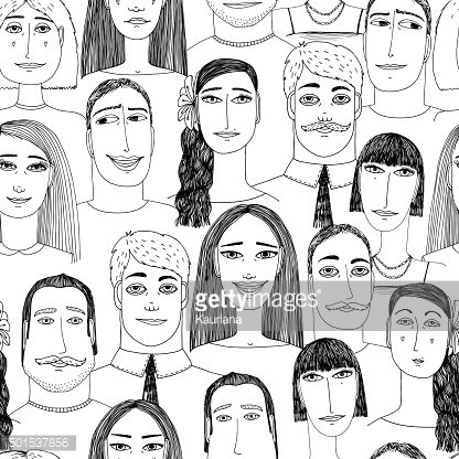 Cartoon faces crowd doodle hand-drawn seamless pattern