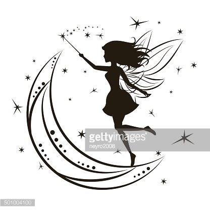 Silhouette of fairy with moon and stars