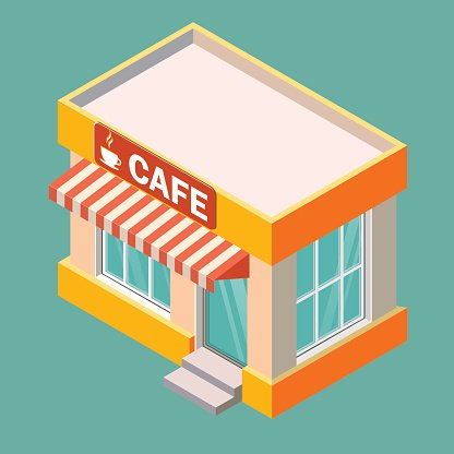 Isometric Vector Cafe Building 3D Icon