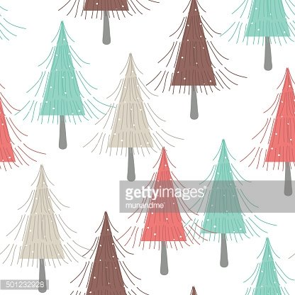 Colorfule pine tree in winter seamless pattern