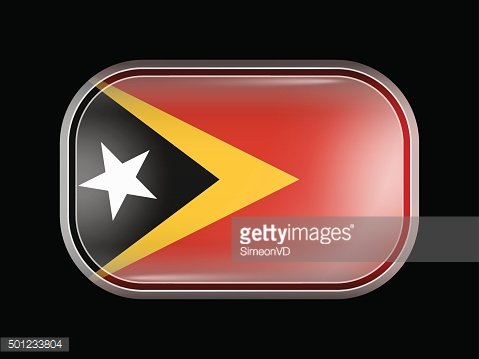 Flag of East Timor. Rectangular Shape with Rounded Corners
