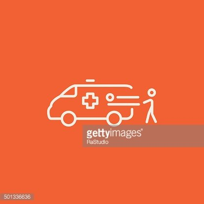 Man with patient and ambulance car line icon