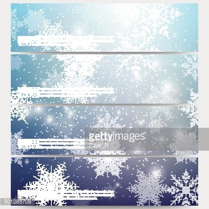 Set of modern banners. Blue abstract winter background. Christmas vector