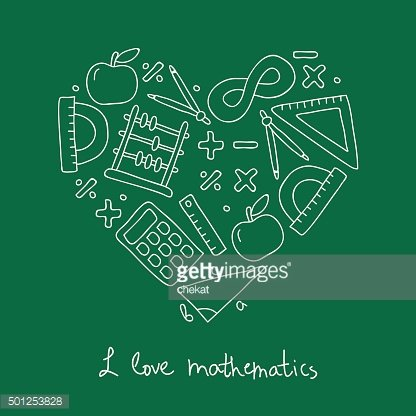 Math icon in the shape of a heart