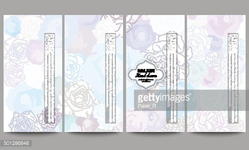 Set of modern flyers. Hand drawn floral doodle pattern, abstract