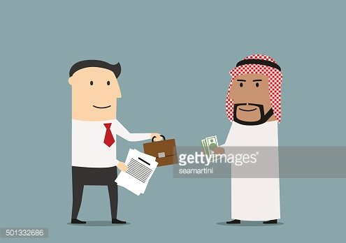 Businessman selling a part of business to arab