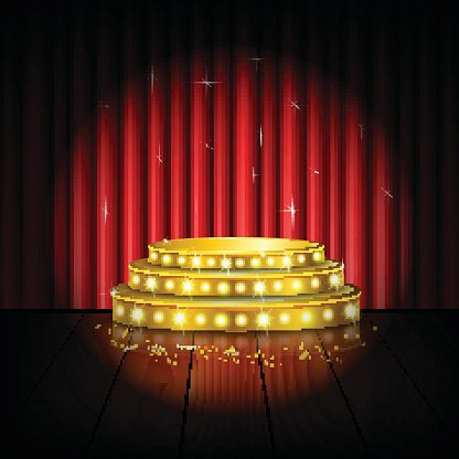 Spotlight golden of empty stage with red curtain background