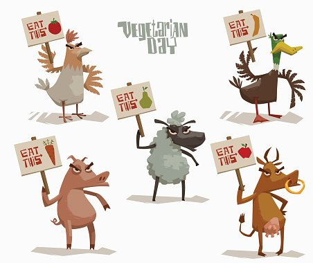 Angry Animals holding posters in support of vegetarianism set