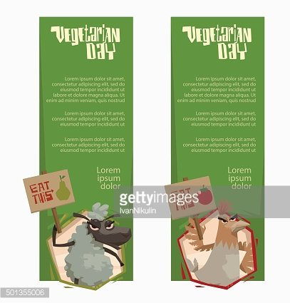 Angry sheep and chicken vertical green banners