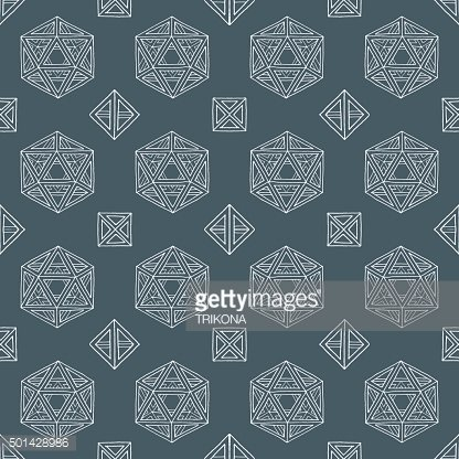 hand drawn polyhedrons seamless pattern