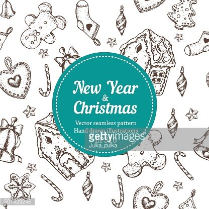 Vector holiday sketch new year seamless pattern. Hand painted illustration