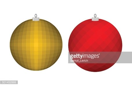 Christmas tree toy. Golden and red ball. Decoration for Christma
