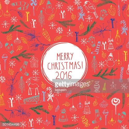 Christmas and new year card with lettering, snowflakes, snowman