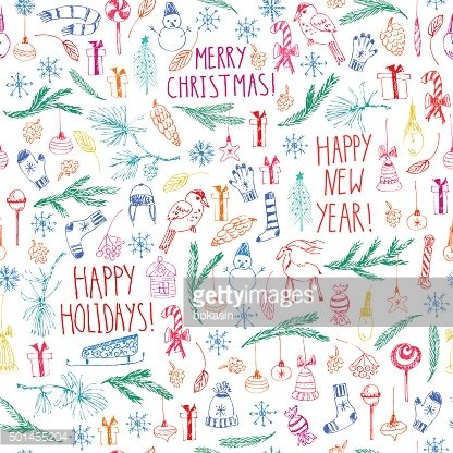 Vector seamless pattern with present boxes, snowflakes, fir branches