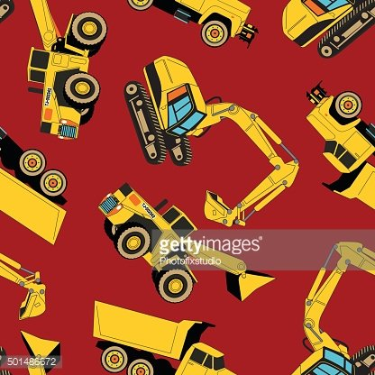 Work area construction vehicles seamless pattern
