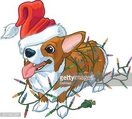 Corgi Dog with Santa Hat and Christmas Lights Illustration