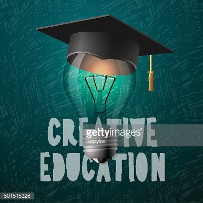 Creative education design, bulb with mortarboard