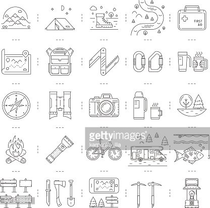 Line icons set of camping, hiking and tourism. Linear symbol