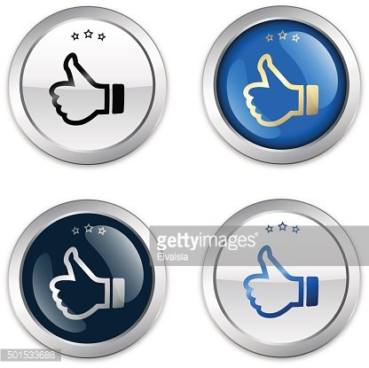 Finest quality seals or icons with thumbs up symbol