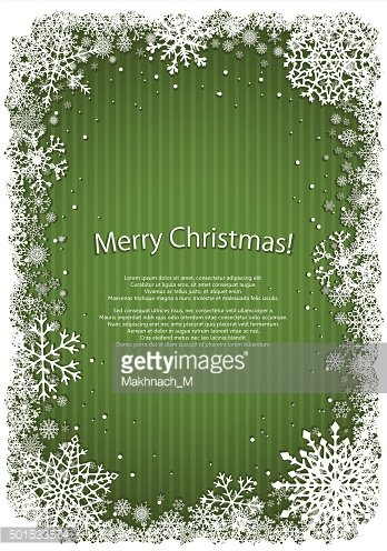 Green Christmas background with frame of snowflakes