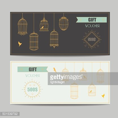Gift Certificate Voucher Coupon Template With Gold Guilloche Pattern