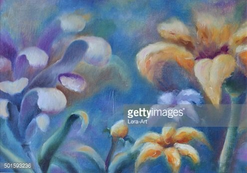 large abstract flowers, oil painting