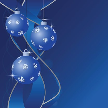 Christmas greeting card, baubles with snowflakes