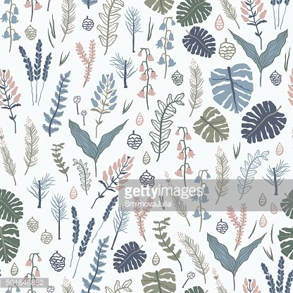 Seamless pattern with forest plants, leaves, seeds and cones.