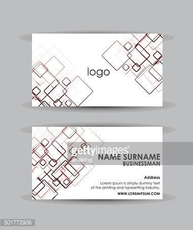 Abstract red squares - Business card vector design template.