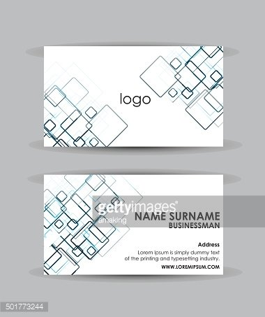 Abstract blue squares - Business card vector design template.