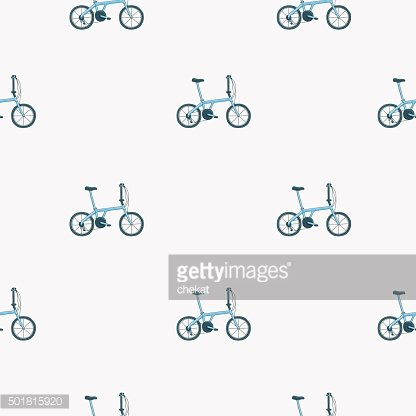 Seamless vector pattern of blue bicycle